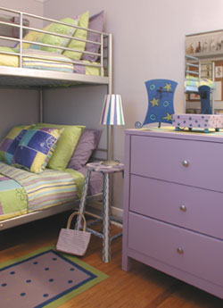 Whimsical floorcloths look great in kid's rooms as well as kitchens and bathrooms. A great way to add color combined with the durability of a floorcloth.
