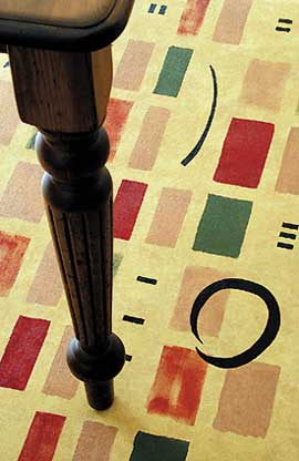 Hand painted floorcloths by artist and designer Debra Gould provide a delightful focal point in any room. Amazingly durable, this 'art you can walk on' can be used on any hard and even surface such as wood, laminate, vinyl or concrete.